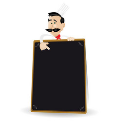 Chef menu holding a blackboard vector