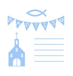 Christian baptism card with a church vector