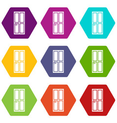 closed wooden door icon set color hexahedron vector image