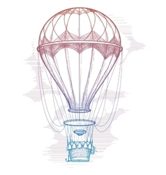 Colorful hot air balloon vintage poster vector