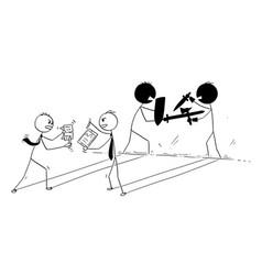 Conceptual cartoon of two businessmen arguing or vector