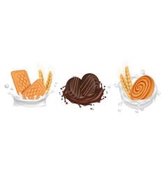 cookies milk chocolate splashes with biscuits vector image