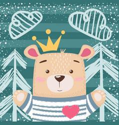 Cute princess teddy bear vector