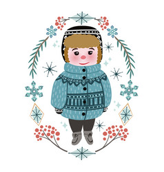 cute winter baby boy in warm clothes vector image
