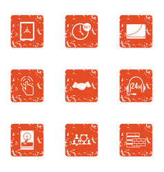 Data retention icons set grunge style vector
