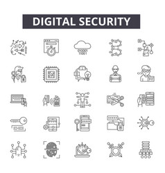 digital security line icons for web and mobile vector image
