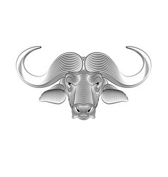 Engraving stylized buffalo portrait a vector