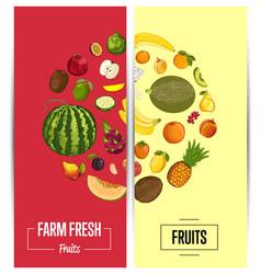Farm fresh fruit flyers set vector
