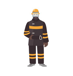 firefighter fireman or rescuer wearing fireproof vector image