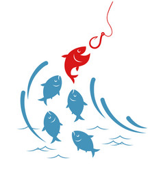 Fishes jumping out of the water to the hook vector