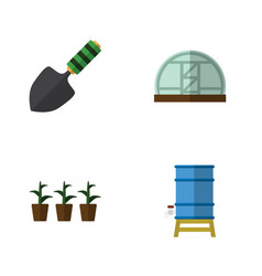Flat icon garden set of hothouse flowerpot vector