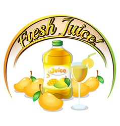 Fresh mango juice label vector