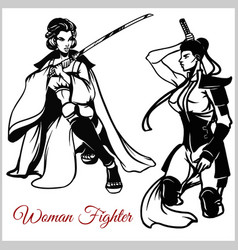 geisha and samurai katana vector image