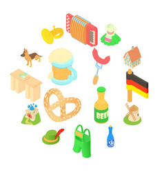 germany icons set isometric 3d style vector image