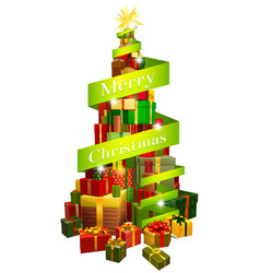gifts tree with merry christmas ribbon vector image
