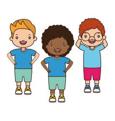 girl and boys happy cartoon vector image