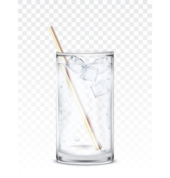 Glass beaker with water ice cubes and a straw vector image vector image
