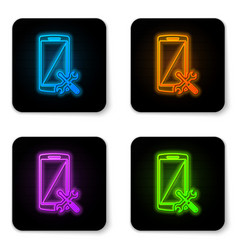 glowing neon smartphone with screwdriver and vector image
