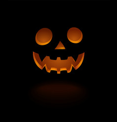 Glowing scary face pumpkin isolated on black vector