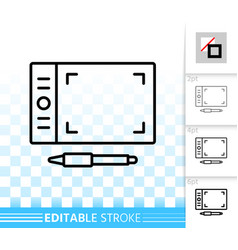 Graphic tablet simple black line icon vector