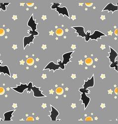 halloween seamless pattern design with bat moon vector image