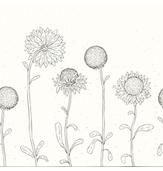 Hand drawn Sunflower Floral background vector image