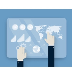 Hands pushing touch screen on futuristic interface vector image