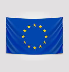 Hanging flag of europe european union european vector