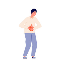 Heartburn person stomach problem vector