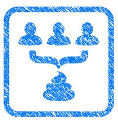 Human shit aggregator funnel framed grunge icon vector