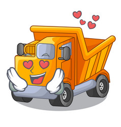 In love truck on highway road with mascot vector