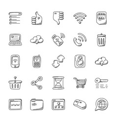 internet and communication icons set vector image