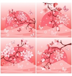 Japanese cherry tree set vector image