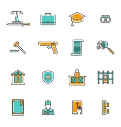 Judgement Line Icons Set vector image