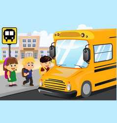 kids waiting to get on a school bus vector image
