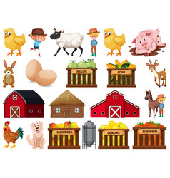 Large set isolated farm objects vector