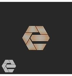 Luxury letter E orange monogram overlapping vector