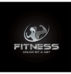 Man and woman of fitness silver silhouette vector