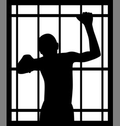 Man in prison behind bars vector