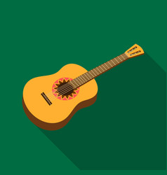 Mexican acoustic guitar icon in flat style vector