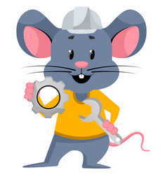 Mouse with wrench on white background vector