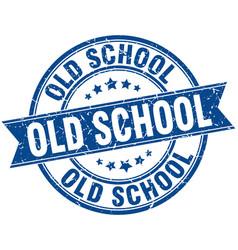 old school round grunge ribbon stamp vector image