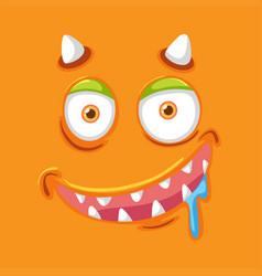 Orange monster facial expression vector