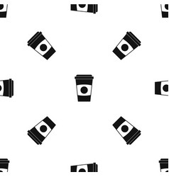 paper coffee cup pattern seamless black vector image