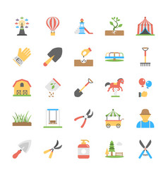 Park and garden flat icons set vector