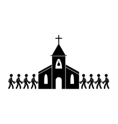 People going to entering church black and white vector