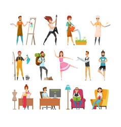 Peoples hobbies variety set vector