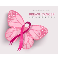 Pink butterfly ribbon for breast cancer awareness vector image