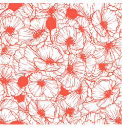 Poppy flower seamless pattern vector