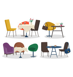 restaurant or cafe furniture tables and chairs set vector image